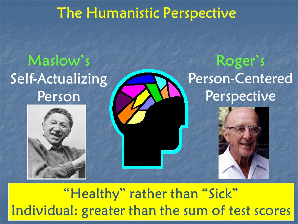 The Humanistic Perspective Maslows Self-Actualizing Person Rogers Person-Centered Perspective Healthy rather than Sick Individual: greater than the su