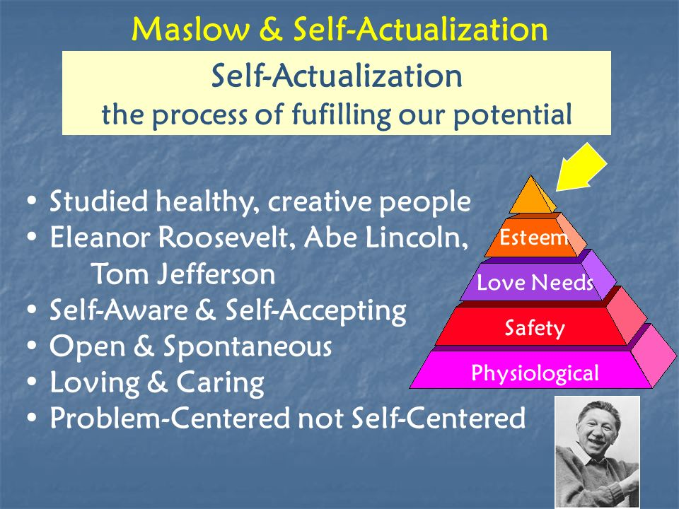 Maslow & Self-Actualization Physiological Safety Love Needs Esteem Self-Actualization the process of fufilling our potential Studied healthy, creative