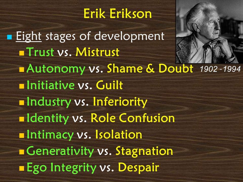 Erik Erikson Eight stages of development Trust vs. Mistrust Autonomy vs. Shame & Doubt Initiative vs. Guilt Industry vs. Inferiority Identity vs. Role
