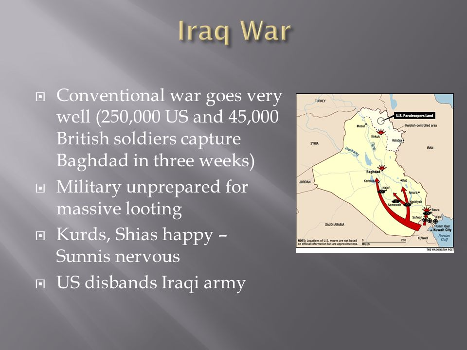 Conventional war goes very well (250,000 US and 45,000 British soldiers capture Baghdad in three weeks) Military unprepared for massive looting Kurds, Shias happy – Sunnis nervous US disbands Iraqi army