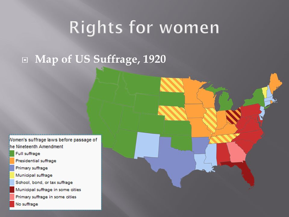 Map of US Suffrage, 1920