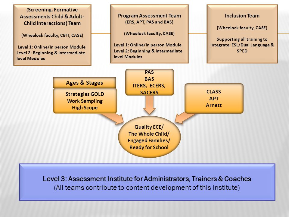 ( Screening, Formative Assessments Child & Adult- Child Interactions) Team (Wheelock faculty, CBTI, CASE) Level 1: Online/In person Module Level 2: Be