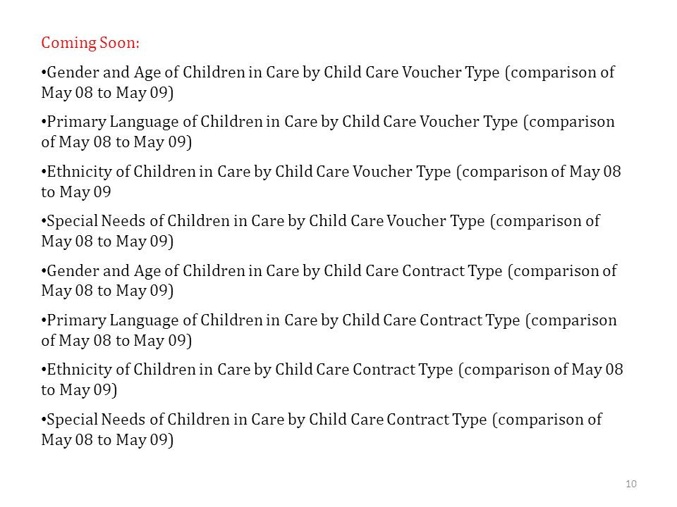10 Coming Soon: Gender and Age of Children in Care by Child Care Voucher Type (comparison of May 08 to May 09) Primary Language of Children in Care by Child Care Voucher Type (comparison of May 08 to May 09) Ethnicity of Children in Care by Child Care Voucher Type (comparison of May 08 to May 09 Special Needs of Children in Care by Child Care Voucher Type (comparison of May 08 to May 09) Gender and Age of Children in Care by Child Care Contract Type (comparison of May 08 to May 09) Primary Language of Children in Care by Child Care Contract Type (comparison of May 08 to May 09) Ethnicity of Children in Care by Child Care Contract Type (comparison of May 08 to May 09) Special Needs of Children in Care by Child Care Contract Type (comparison of May 08 to May 09)