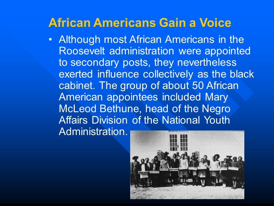 Although most African Americans in the Roosevelt administration were appointed to secondary posts, they nevertheless exerted influence collectively as the black cabinet.