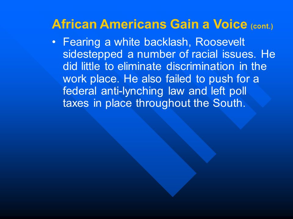 Fearing a white backlash, Roosevelt sidestepped a number of racial issues.