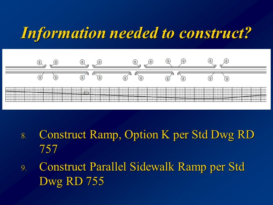 Information needed to construct. 8. Construct Ramp, Option K per Std Dwg RD