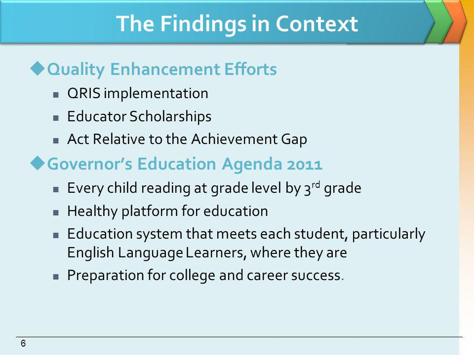 The Findings in Context Quality Enhancement Efforts QRIS implementation Educator Scholarships Act Relative to the Achievement Gap Governors Education Agenda 2011 Every child reading at grade level by 3 rd grade Healthy platform for education Education system that meets each student, particularly English Language Learners, where they are Preparation for college and career success.