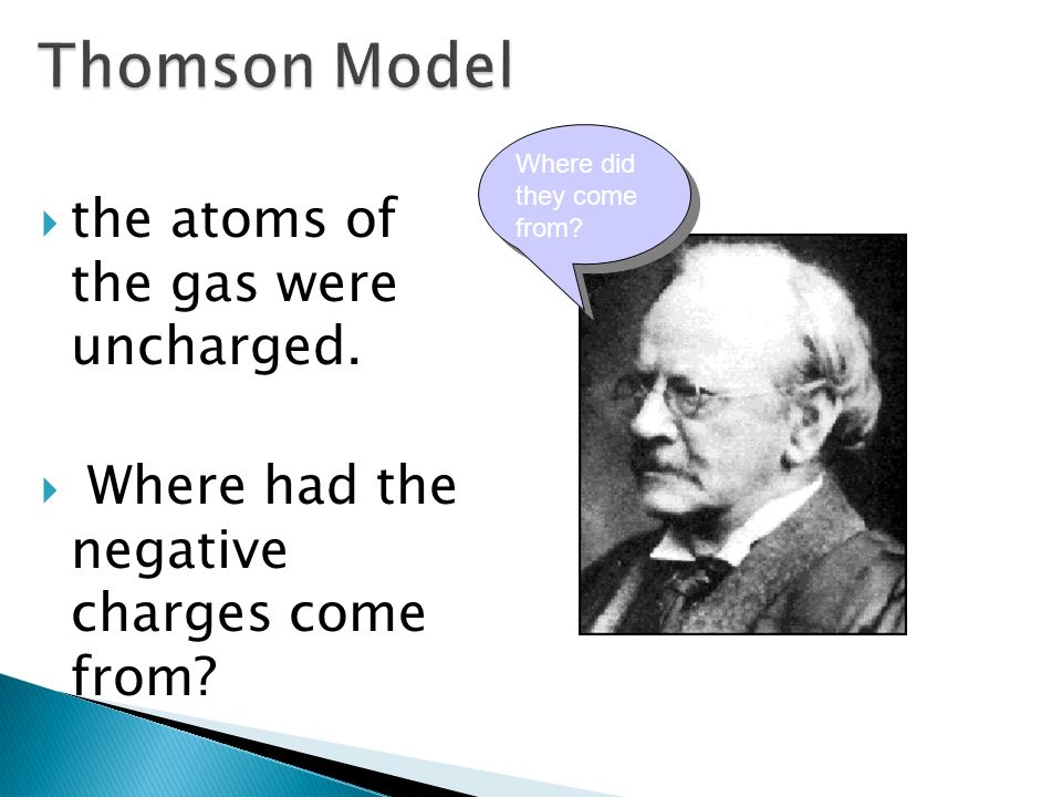 the atoms of the gas were uncharged. Where had the negative charges come from? Where did they come from?