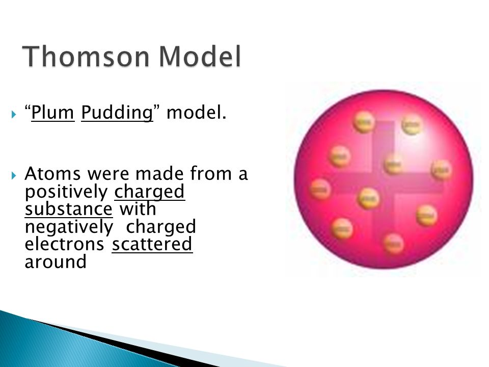 Plum Pudding model. Atoms were made from a positively charged substance with negatively charged electrons scattered around