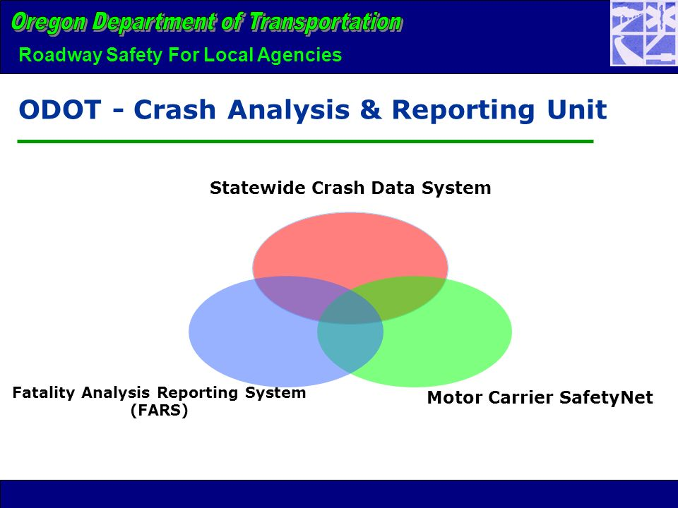 Roadway Safety For Local Agencies ODOT - Crash Analysis & Reporting Unit Statewide Crash Data System Motor Carrier SafetyNet Fatality Analysis Reporting System (FARS)