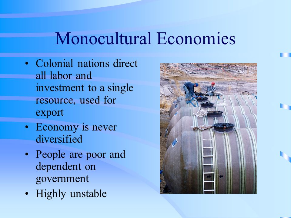 Monocultural Economies Colonial nations direct all labor and investment to a single resource, used for export Economy is never diversified People are