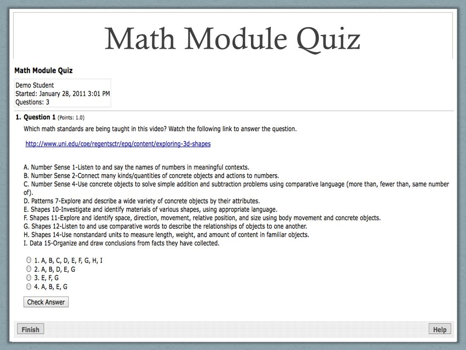 Math Module Quiz