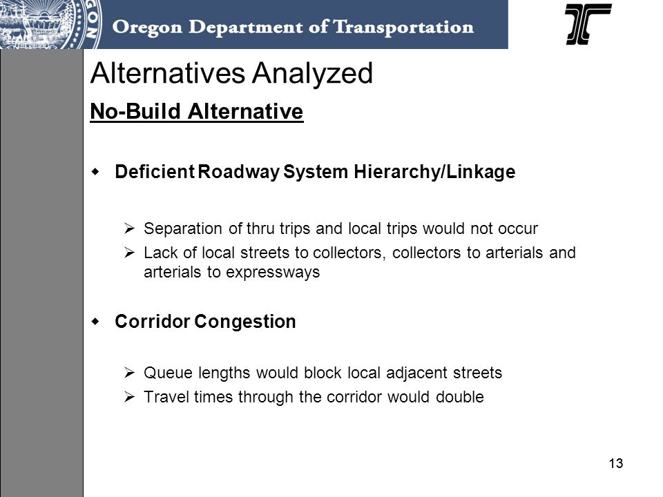 13 Alternatives Analyzed No-Build Alternative Deficient Roadway System Hierarchy/Linkage Separation of thru trips and local trips would not occur Lack of local streets to collectors, collectors to arterials and arterials to expressways Corridor Congestion Queue lengths would block local adjacent streets Travel times through the corridor would double