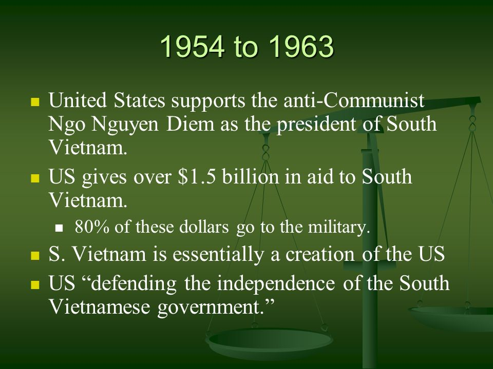 1954 to 1963 United States supports the anti-Communist Ngo Nguyen Diem as the president of South Vietnam.