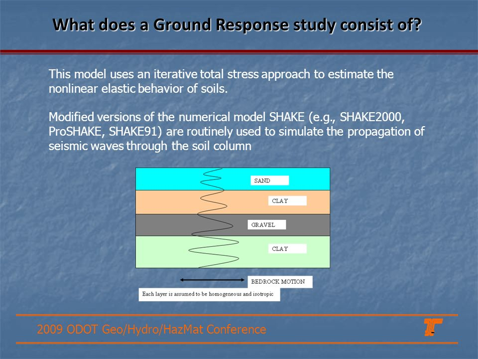2009 ODOT Geo/Hydro/HazMat Conference What does a Ground Response study consist of? This model uses an iterative total stress approach to estimate the