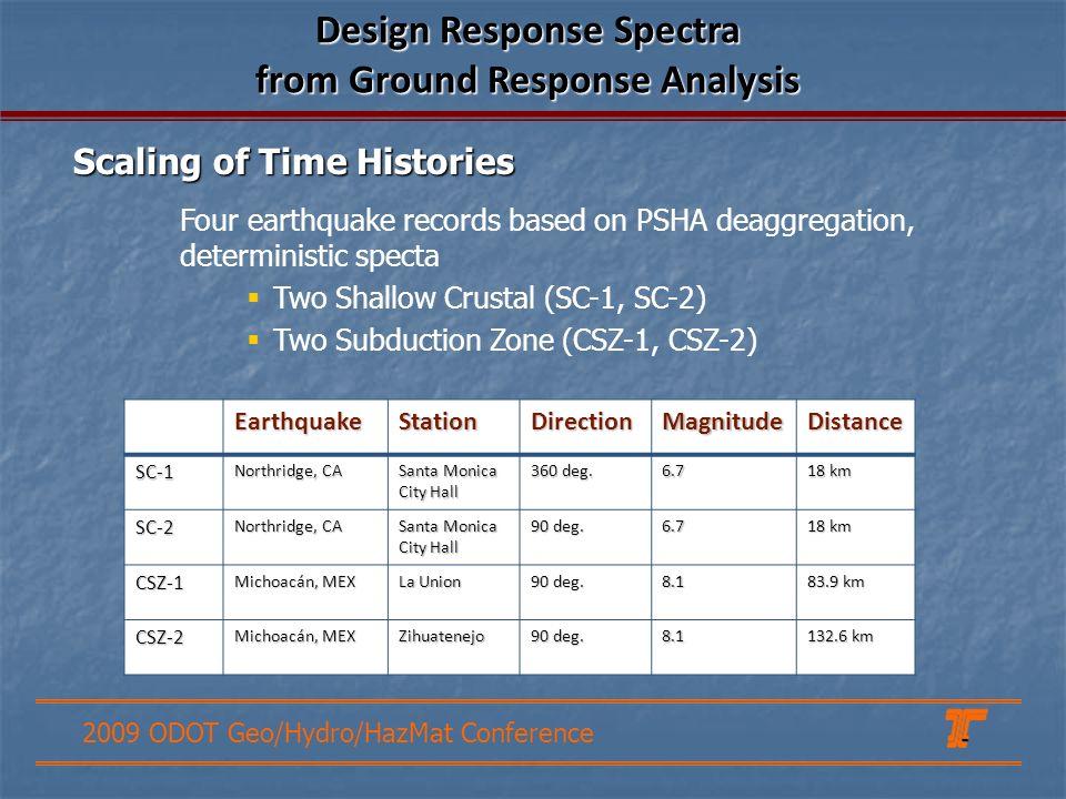 2009 ODOT Geo/Hydro/HazMat Conference Four earthquake records based on PSHA deaggregation, deterministic specta Two Shallow Crustal (SC-1, SC-2) Two Subduction Zone (CSZ-1, CSZ-2) EarthquakeStationDirectionMagnitudeDistance SC-1 Northridge, CA Santa Monica City Hall 360 deg.