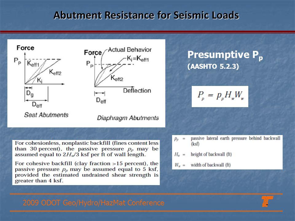 2009 ODOT Geo/Hydro/HazMat Conference Abutment Resistance for Seismic Loads Presumptive P p (AASHTO 5.2.3)
