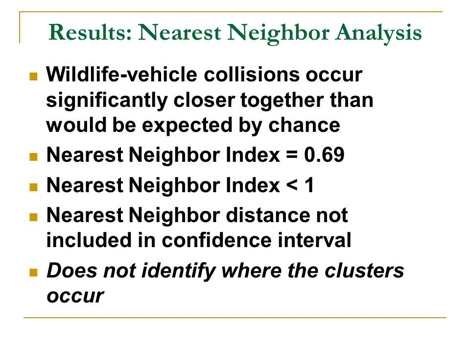 Results: Nearest Neighbor Analysis Wildlife-vehicle collisions occur significantly closer together than would be expected by chance Nearest Neighbor Index = 0.69 Nearest Neighbor Index < 1 Nearest Neighbor distance not included in confidence interval Does not identify where the clusters occur