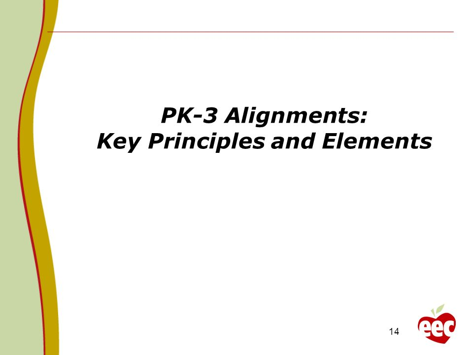 14 PK-3 Alignments: Key Principles and Elements