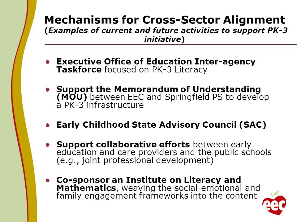 Mechanisms for Cross-Sector Alignment (Examples of current and future activities to support PK-3 initiative) Executive Office of Education Inter-agenc