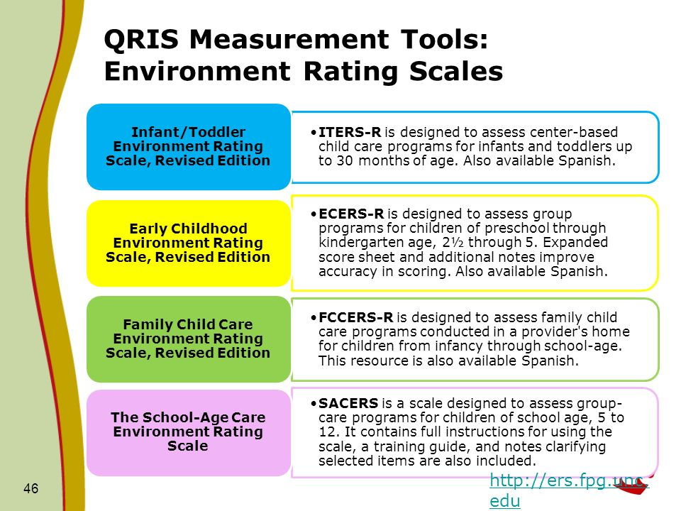QRIS Measurement Tools: Environment Rating Scales ITERS-R is designed to assess center-based child care programs for infants and toddlers up to 30 mon