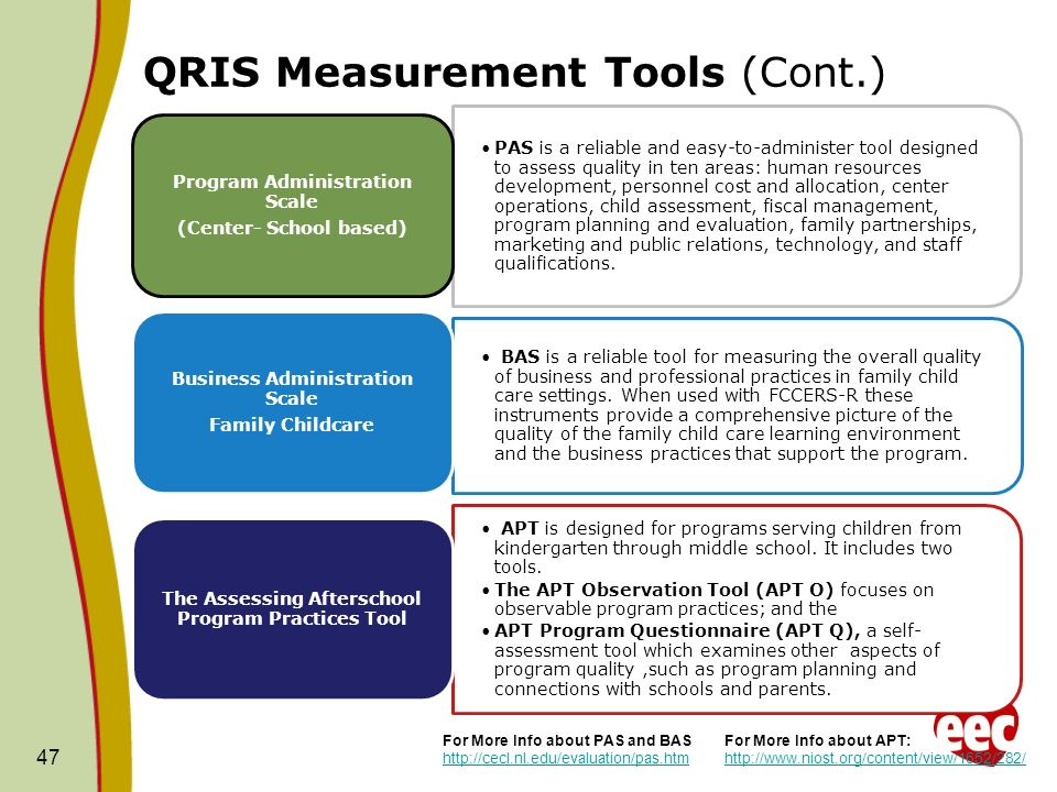 QRIS Measurement Tools (Cont.) PAS is a reliable and easy-to-administer tool designed to assess quality in ten areas: human resources development, per