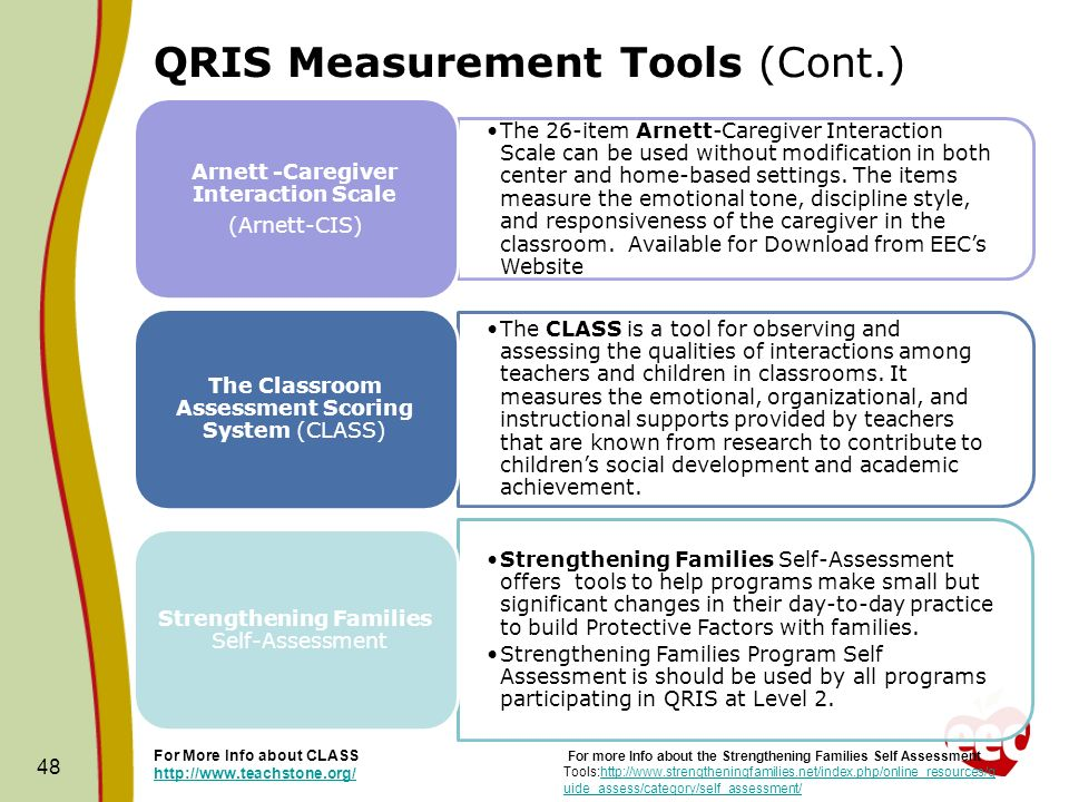 QRIS Measurement Tools (Cont.) The 26-item Arnett-Caregiver Interaction Scale can be used without modification in both center and home-based settings.