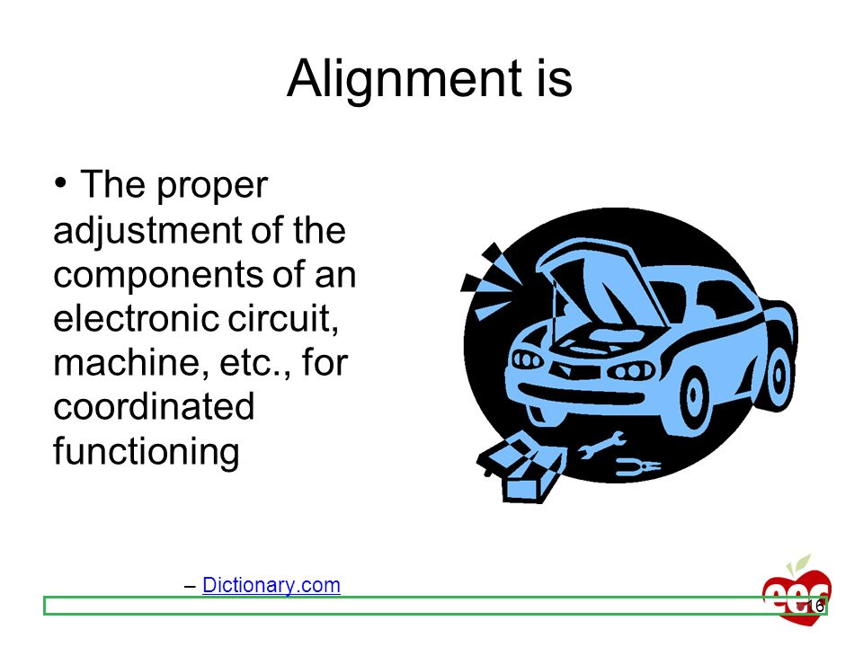 16 Alignment is The proper adjustment of the components of an electronic circuit, machine, etc., for coordinated functioning – Dictionary.com