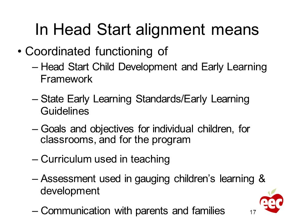 In Head Start alignment means Coordinated functioning of – Head Start Child Development and Early Learning Framework – State Early Learning Standards/