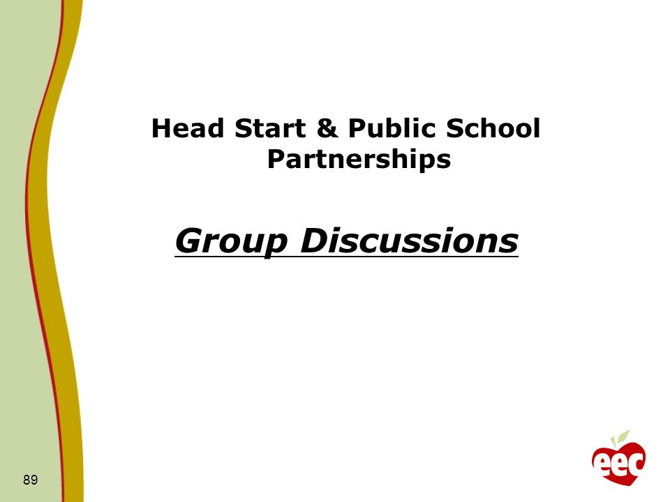 Head Start & Public School Partnerships Group Discussions 89