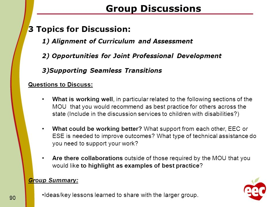 Group Discussions 90 3 Topics for Discussion: 1) Alignment of Curriculum and Assessment 2) Opportunities for Joint Professional Development 3)Supporti