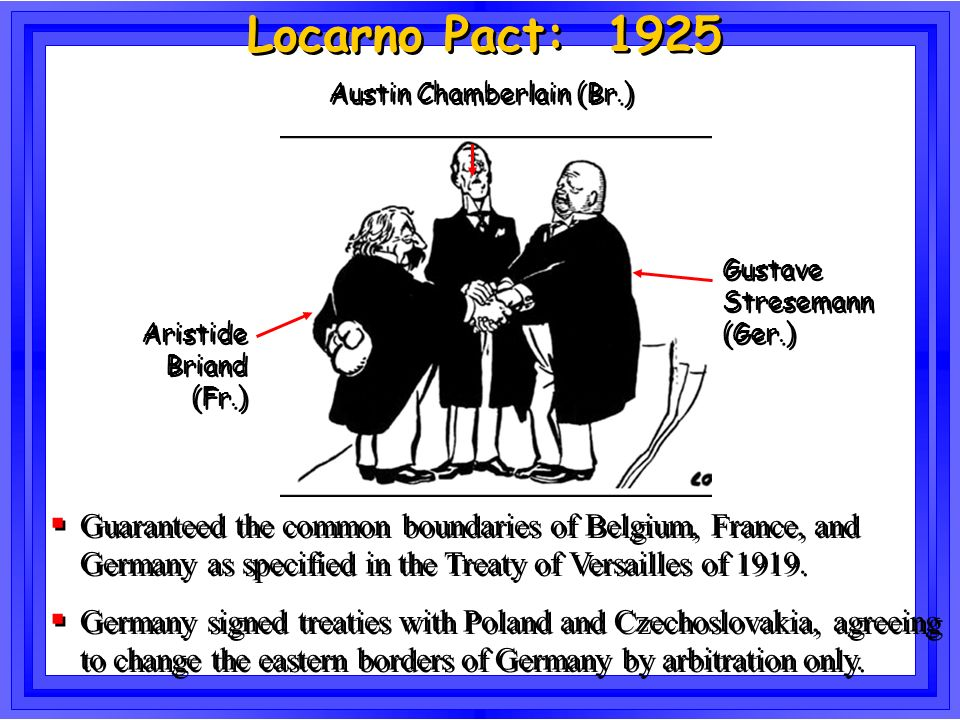 Locarno Pact: 1925 Gustave Stresemann (Ger.) Aristide Briand (Fr.) Austin Chamberlain (Br.) Guaranteed the common boundaries of Belgium, France, and G