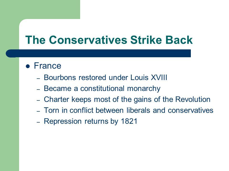 The Conservatives Strike Back Russia – Decembrist Revolt (1825) – Army officers attempt a revolt against Czar Nicholas I on December 1825 – Demand a c
