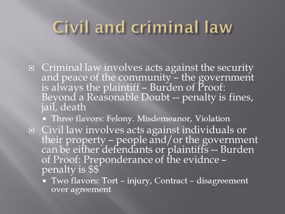 Criminal law involves acts against the security and peace of the community – the government is always the plaintiff – Burden of Proof: Beyond a Reason