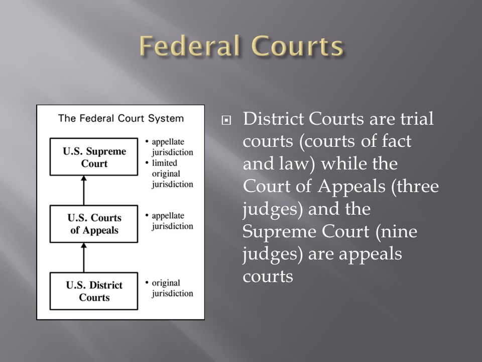 District Courts are trial courts (courts of fact and law) while the Court of Appeals (three judges) and the Supreme Court (nine judges) are appeals co