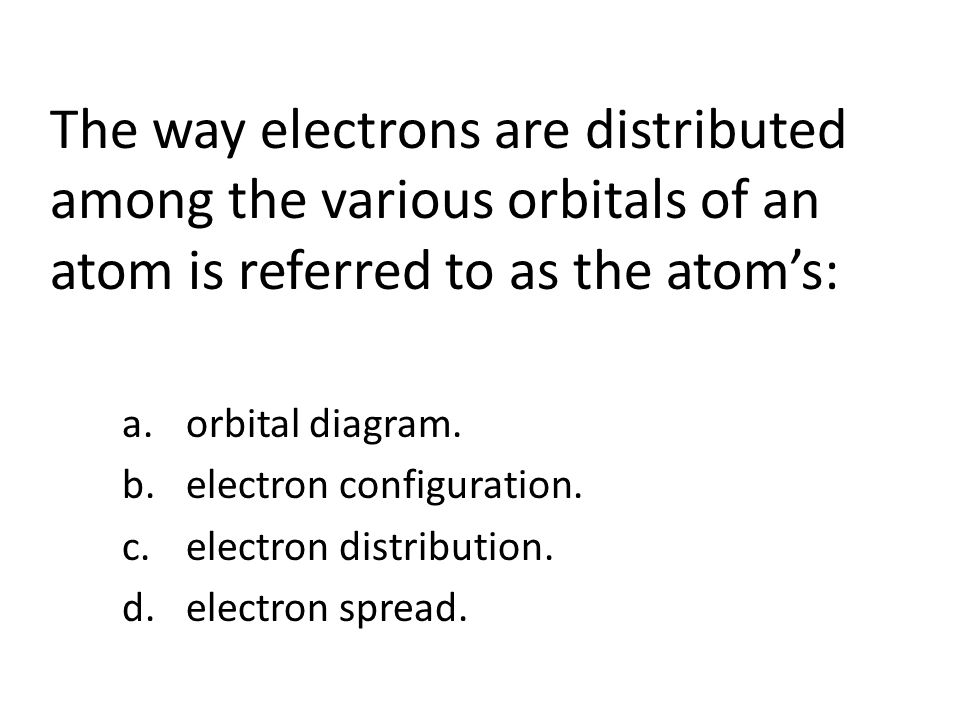 The way electrons are distributed among the various orbitals of an atom is referred to as the atoms: a.orbital diagram.