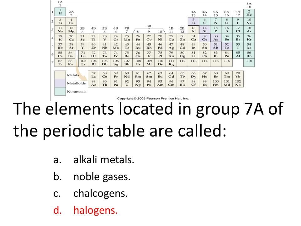 The elements located in group 7A of the periodic table are called: a.alkali metals.