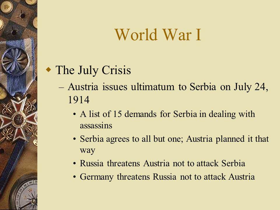 Assassination The spark! Archduke Francis Ferdinand assassinated in Sarajevo (capital of BosniaAustrian province) on June 28, 1914 – Heir to the Austr