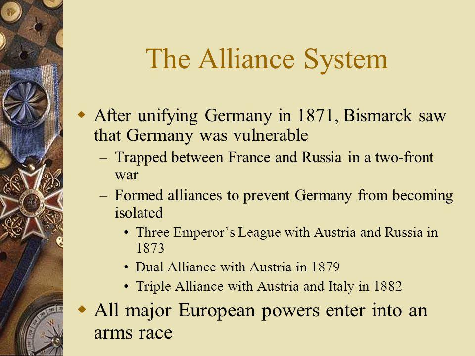 Alliances Bismarck worked HARD to keep peace by encouraging alliances – Why is Bismarck a peace-nik? Bismarck worked hard to build Germany into a migh