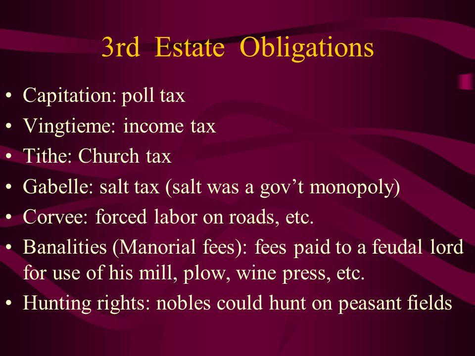 3rd Estate Obligations Capitation: poll tax Vingtieme: income tax Tithe: Church tax Gabelle: salt tax (salt was a govt monopoly) Corvee: forced labor