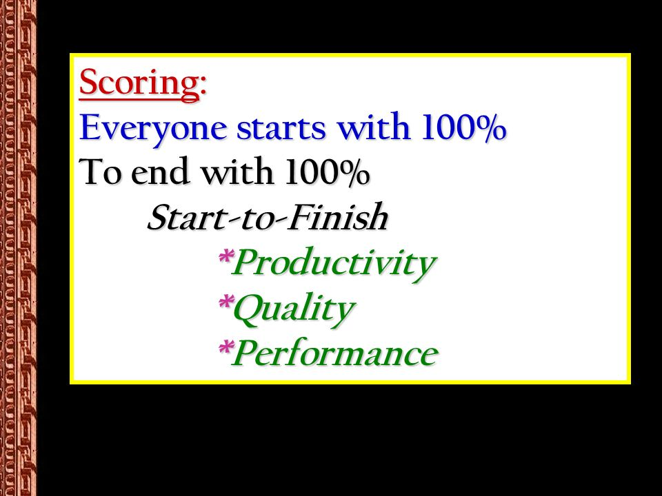 Scoring: Everyone starts with 100% To end with 100% Start-to-Finish *Productivity *Quality *Performance