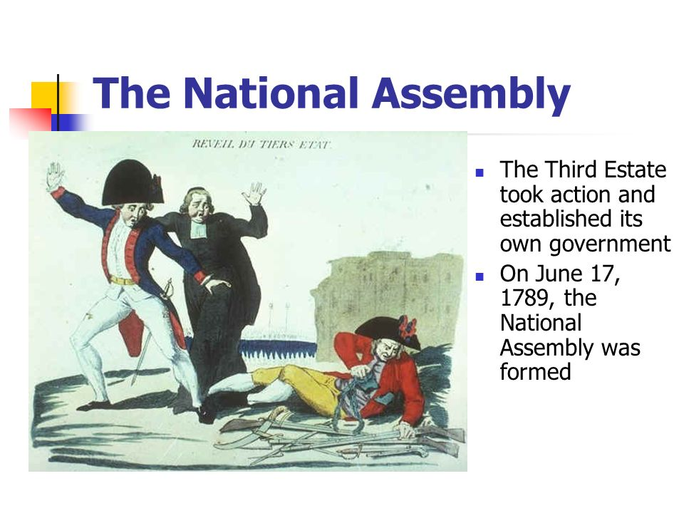 The Third Estate took action and established its own government On June 17, 1789, the National Assembly was formed The National Assembly