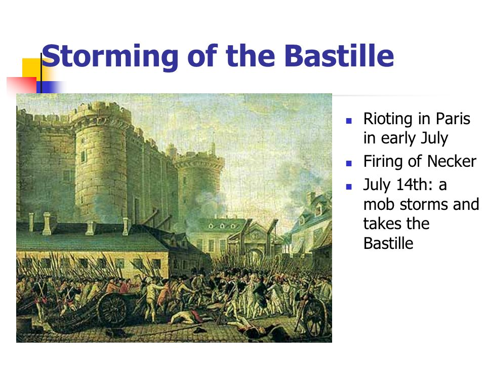 Rioting in Paris in early July Firing of Necker July 14th: a mob storms and takes the Bastille Storming of the Bastille