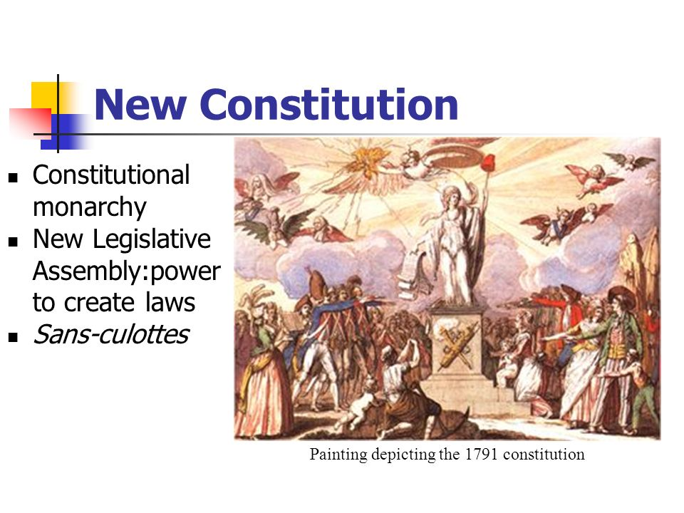 New Constitution Constitutional monarchy New Legislative Assembly:power to create laws Sans-culottes Painting depicting the 1791 constitution