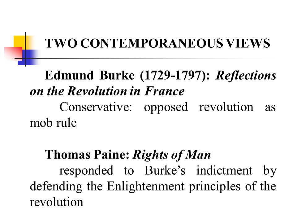 TWO CONTEMPORANEOUS VIEWS Edmund Burke (1729-1797): Reflections on the Revolution in France Conservative: opposed revolution as mob rule Thomas Paine: Rights of Man responded to Burkes indictment by defending the Enlightenment principles of the revolution