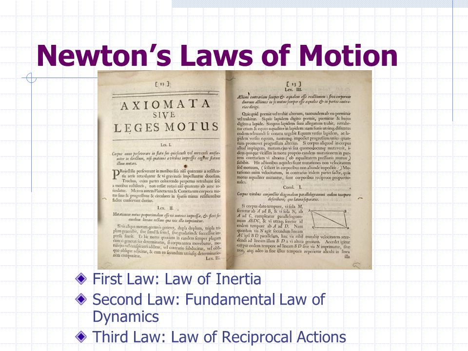 Newtons Laws of Motion First Law: Law of Inertia Second Law: Fundamental Law of Dynamics Third Law: Law of Reciprocal Actions