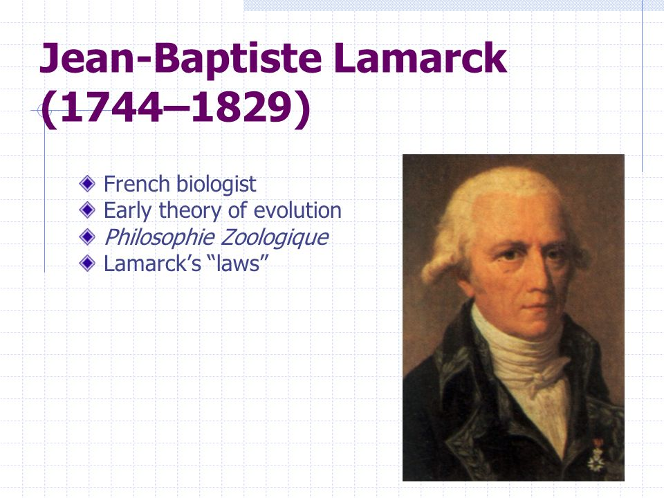 Jean-Baptiste Lamarck (1744–1829) French biologist Early theory of evolution Philosophie Zoologique Lamarcks laws