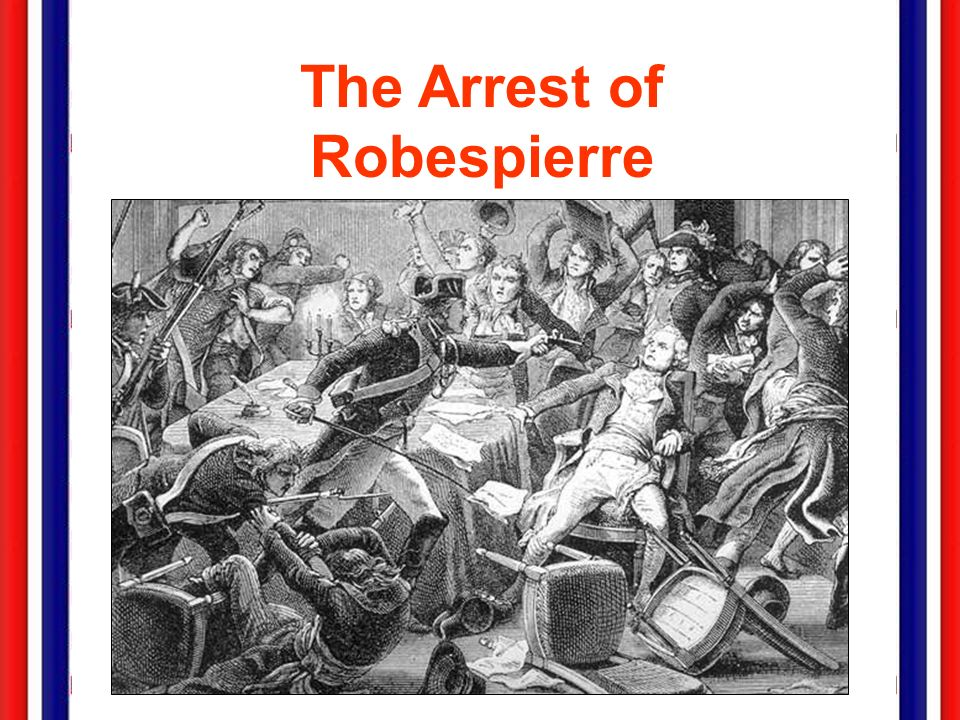 The Thermidorean Reaction, 1794 PJuly 26 Robespierre gives a speech illustrating new plots & conspiracies. he alienated members of the CPS & CGS. he a