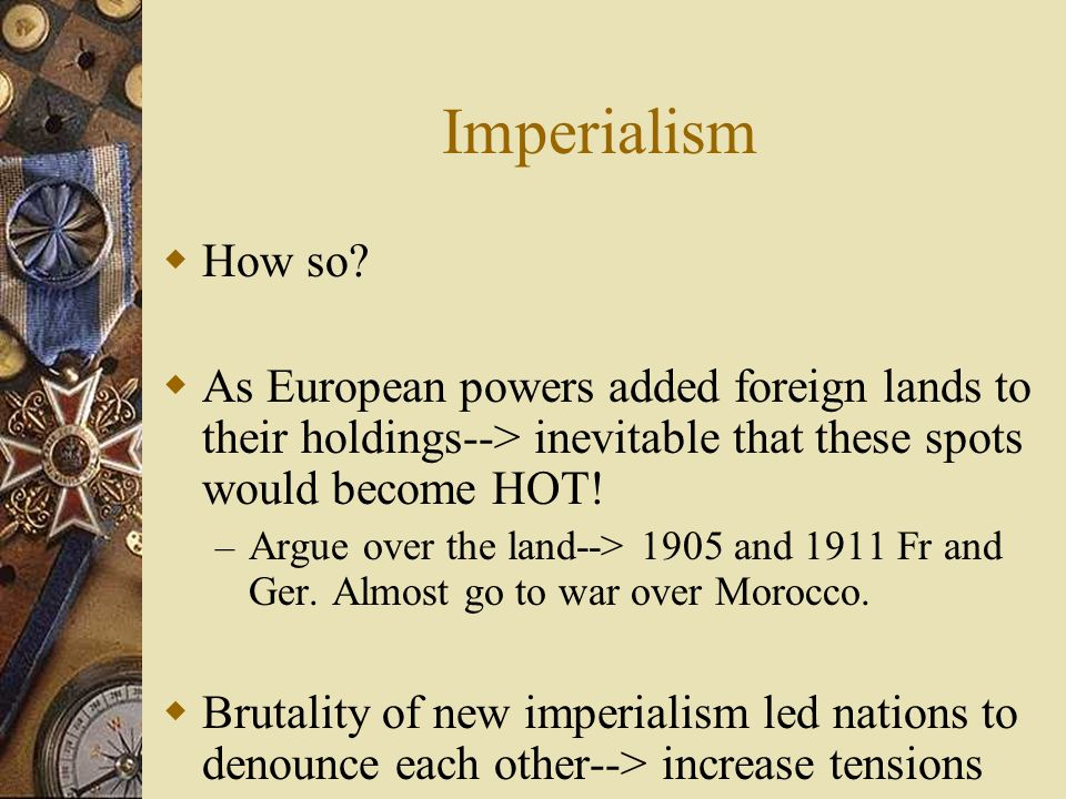 Nationalism 19th c. --> rise of nationalistic spirit across Europe – Countries see own sovereignty and superiority as imptnt – Yet not all seeking ind