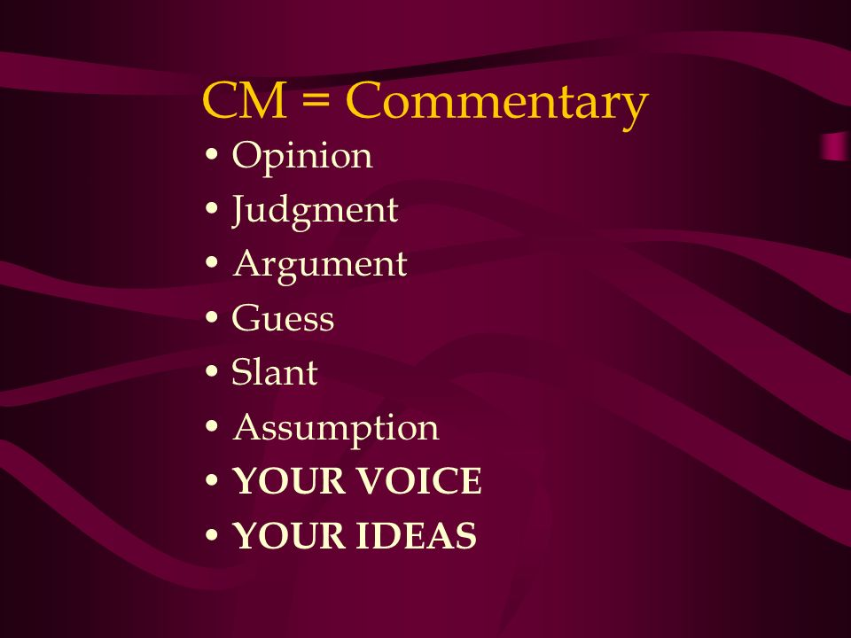 Opinion Judgment Argument Guess Slant Assumption YOUR VOICE YOUR IDEAS